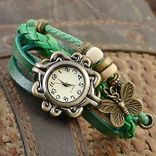 Leather Vintage Watch - Green