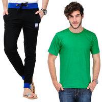 TSX Mens Black Cotton Blend Trackpant & T-shirt Combo