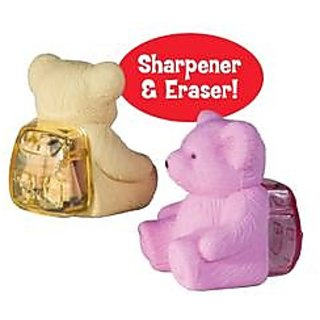 TEDDY FUN ERASER AND SHARPNER SET OF 2 PIECES