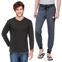 TSX Exquisite Trackpant and Henley Combo TSX-HEN-2-PYJ-RIB-BLUE