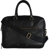 Craft Concepts Mac-Chav Black Leather Laptop Briefcase