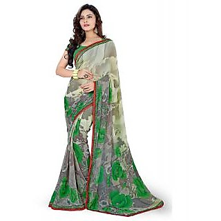 SuratTex Green Georgette Printed Saree With Blouse