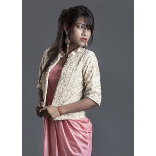 beige embroidered jacket with dress