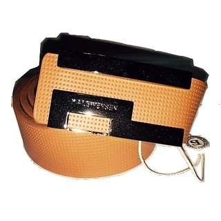 Designer Leather Belt with Metallic Buckle