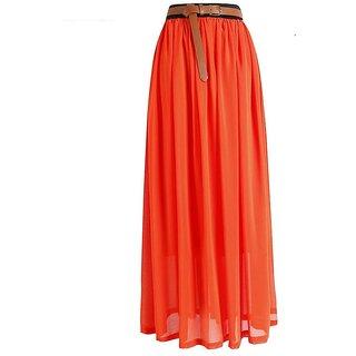 Rayon Long Skirt Orange