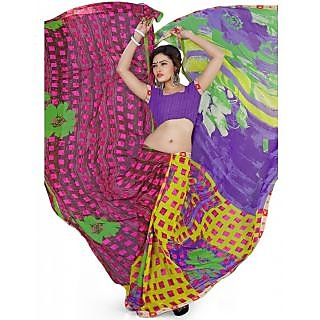 SuratTex Multicolor Georgette Printed Saree With Blouse