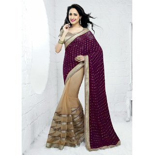 Bisque & Purple color net, georgette designer patti work saree with blouse piece