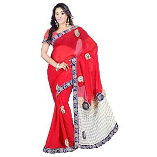 982b34c009 Saree nx Designer Red Chiffon Saree Embroidered With Blouse Piece