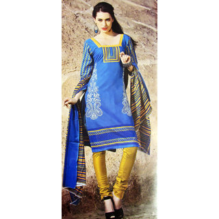 Women Blue and Mustard Channo Salwar Suit