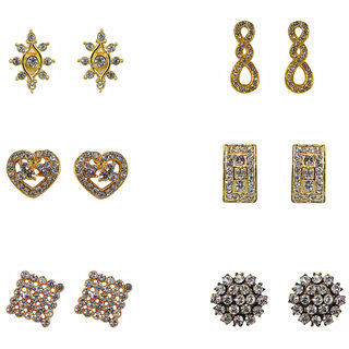Gold Finish Earrings Combo-Set Of 6 Sparkling Stones Earrings By Xcite-XERCOMBO7