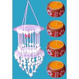 4 Wax Flotting Decorated Diya/Candles + 1 Hanging For Christmas Carnival