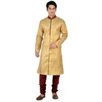 Sanwara GoldMaroon Embroidered Long Kurta  Pyjama Sets For Men