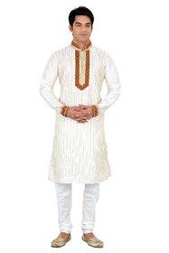 Sanwara White Embroidered Long Kurta  Pyjama Sets For Men