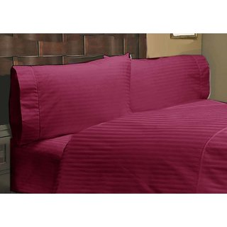 Egyptian Cotton Bed Sheets With 2 PC Pillow Cases King Size Burgundy Stripe