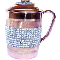 copper jug with silver crystal studded