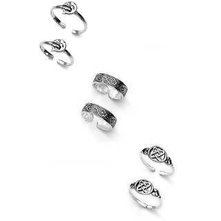92.5 Sterling Silver Toe Rings Combo by Taraash - Antique Finish - COMBO TR 20