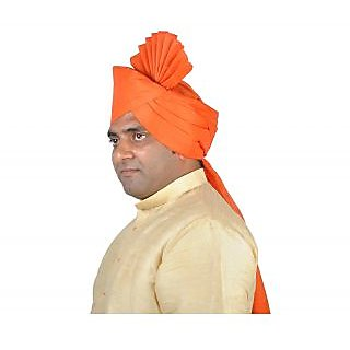 eKolhapuri Plain Orange Polyester Pheta (Turban)