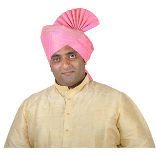 eKolhapuri Khadi Print Pink Polyester Pheta Turban