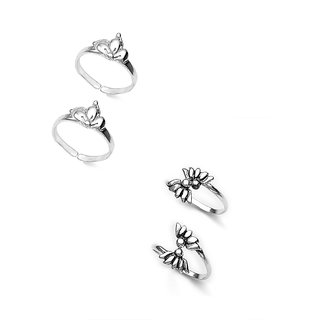 Elegant set of 2 Toe Rings in Silver by Taraash - COMBO TR 22