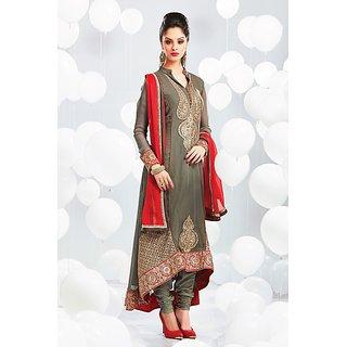 Grey Georgette Embroidered Salwar Kameez With Red Dupatta