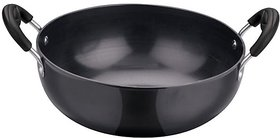 RBJ Hard Anodised Flat Base Deep Frying Pan Kadhai Wok 1.5 L