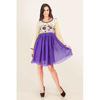 Cream and Purple Embroidered Full Sleeves Kurti