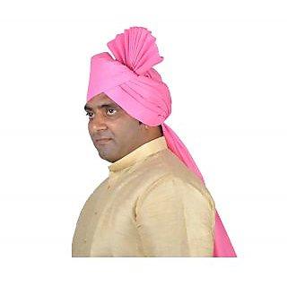 eKolhapuri Plain Pink Polyester Pheta (Turban)