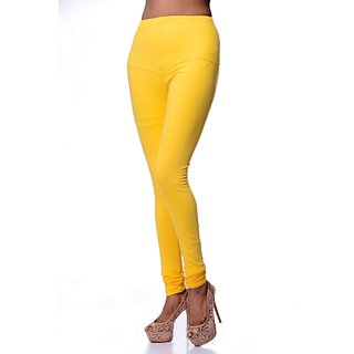 Women Cotton Leggings - Yellow Cotton Lycra Readymade Legging