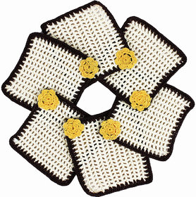 Handmade Crochet Coasters With Yellow Motif