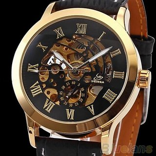 Mens Roman  Stainless Steel Automatic Mechanical Skeleton Sport Wrist Watch