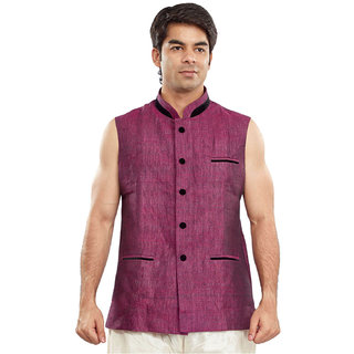 Sanwara Plain Purple Nehru Jacket For Men