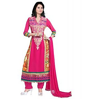 Surat Tex Pink Traditional Wear Embroidered Georgette Semi-Stitched Salwar Suit
