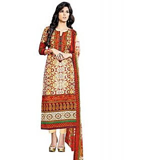 Surat Tex Orange Color Designer Digital Print Cotton Semi-Stitched Salwar Suit
