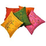 Fine Embroidered Cotton Cushion Cover 5 Pc. Set Cotton Cushion Cover Set