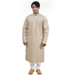 Rajwada Golden Ethnic Mala Embroidery Kurta Pyjama Set For Men