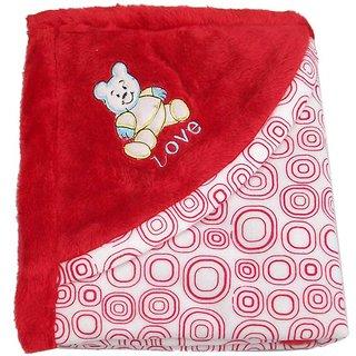 Garg Teddy Love Fur Design Polar Fleece Red Blanket with Hood