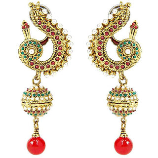 Shining Diva Peacock Designed Multicoloured Hanging Earrings