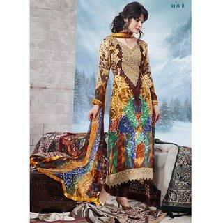 Jinaam Pashmina Women Stylish Brown Designer Unstitched Suit 8198 B