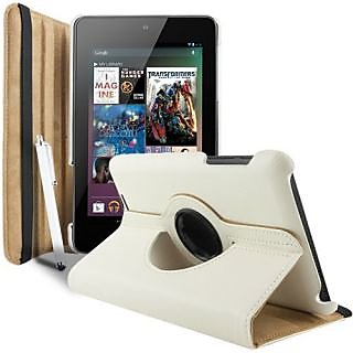 ClickAway  360 Degree Rotating Smart Leather Case Cover For Asus Google Nexus 7 1St Gen 2012 Model Tablet White