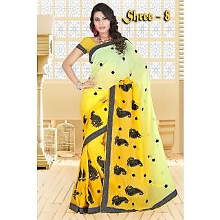 yellow chiffon saree with alluring black resham embroidery butta work