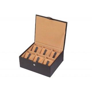 YStore Genuine Black Leather Watch Box - 6 slots