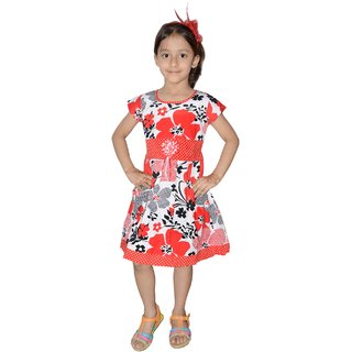 Stylish flower print cotton Frock 0 2 years Red Blue