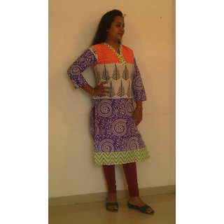 Orange and Blue Print Jaipuri Cotton Kurti