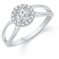 VK Jewels Upper Stone Heart Shape Rhodium Plated Ring