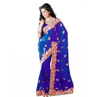 Blue Chiffon Saree With Lace Border