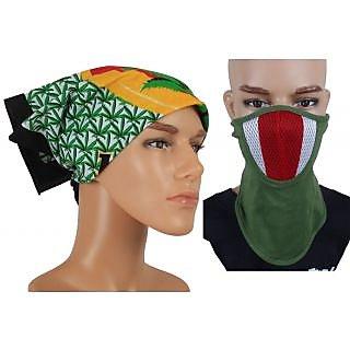 Jstarmart Headwrap With Green Face Mask JSMFHHR0048