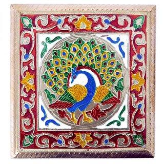 Pooja Chowki Pata (Peacock) 18x18x4.5 cm