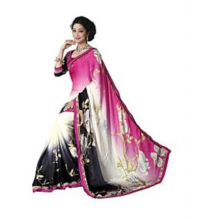 Jiya Presents Printed Satin Chiffon Saree(Multi)