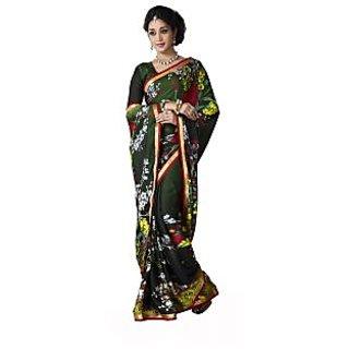 Jiya Presents Printed Satin Chiffon Saree(Dark Green,Multi)