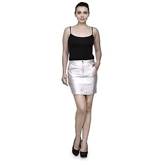 Girls Party Wear Polyester Skirts Metallic Silver